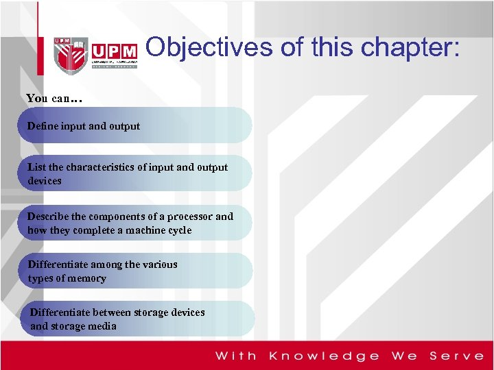 Objectives of this chapter: You can… Define input and output List the characteristics of