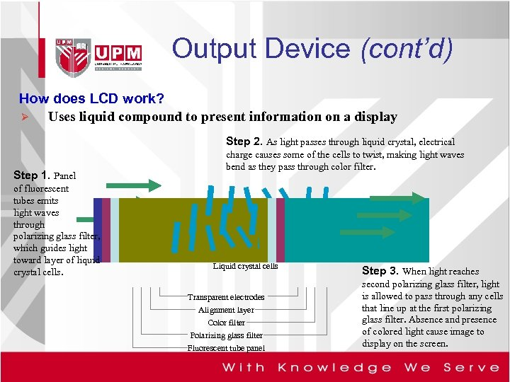 Output Device (cont'd) How does LCD work? Ø Uses liquid compound to present information