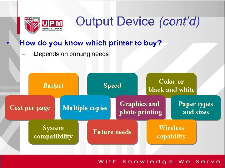 Output Device (cont'd) • How do you know which printer to buy? – Depends