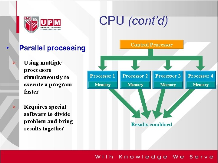 CPU (cont'd) • Control Processor Parallel processing Ø Ø Using multiple processors simultaneously to