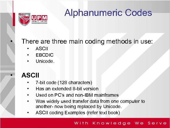 Alphanumeric Codes • There are three main coding methods in use: • • ASCII