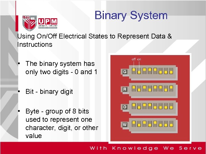 Binary System Using On/Off Electrical States to Represent Data & Instructions • The binary
