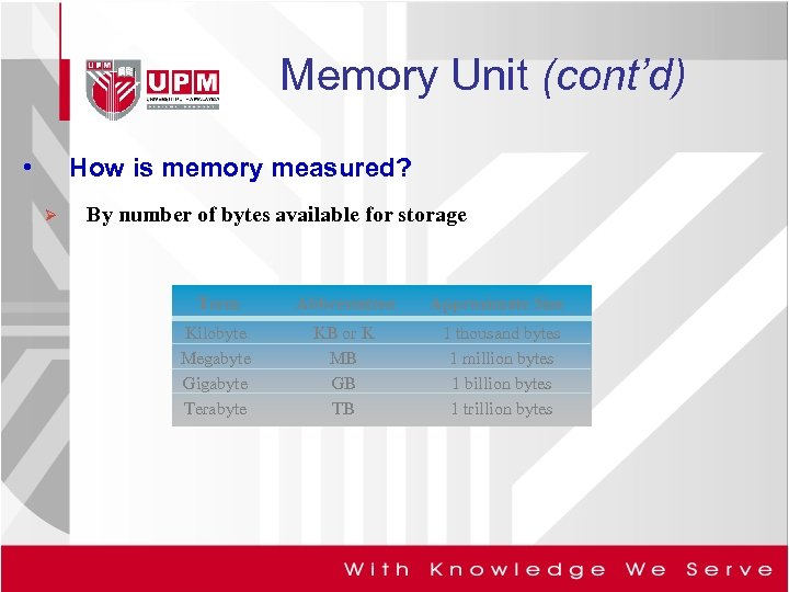 Memory Unit (cont'd) • How is memory measured? Ø By number of bytes available