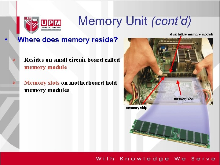 Memory Unit (cont'd) • dual inline memory module Where does memory reside? Ø Resides
