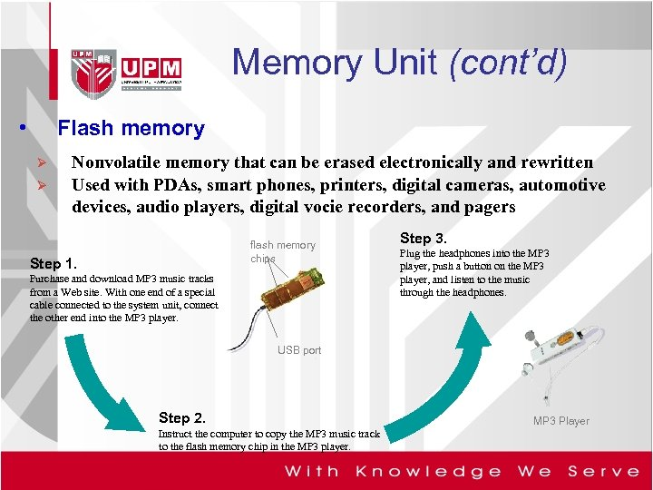 Memory Unit (cont'd) • Flash memory Ø Ø Nonvolatile memory that can be erased