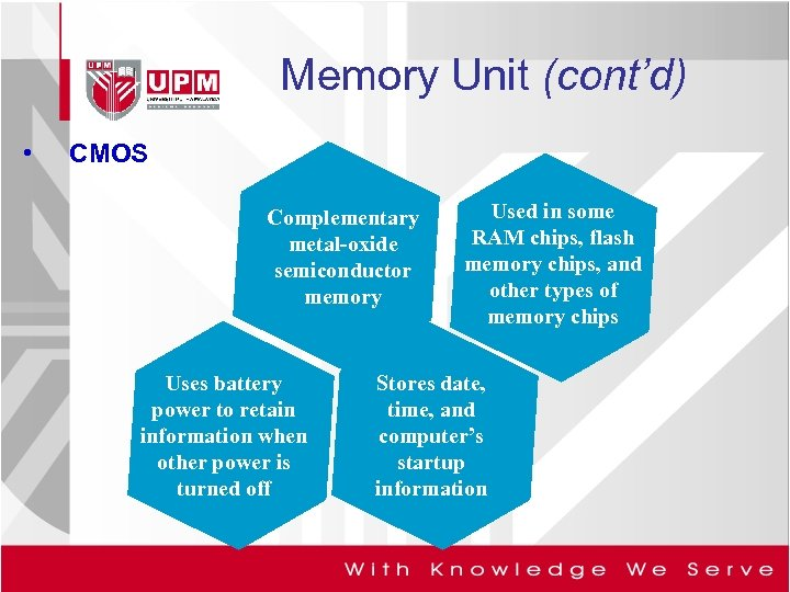 Memory Unit (cont'd) • CMOS Complementary metal-oxide semiconductor memory Uses battery power to retain