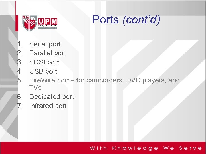 Ports (cont'd) 1. 2. 3. 4. 5. Serial port Parallel port SCSI port USB