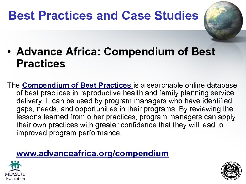 Best Practices and Case Studies • Advance Africa: Compendium of Best Practices The Compendium
