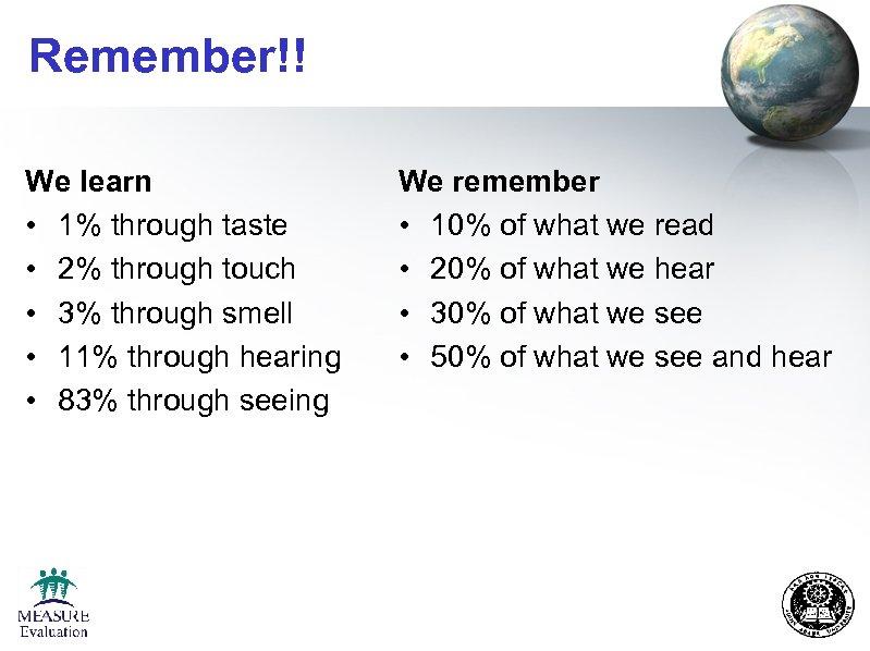 Remember!! We learn • 1% through taste • 2% through touch • 3% through