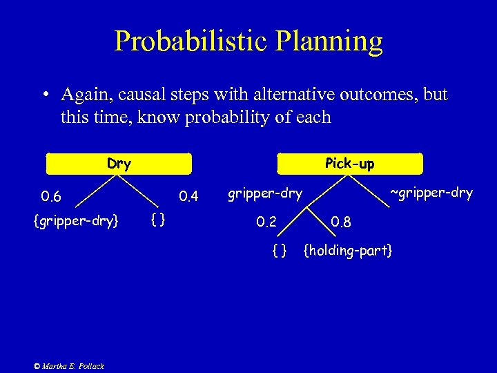 Probabilistic Planning • Again, causal steps with alternative outcomes, but this time, know probability