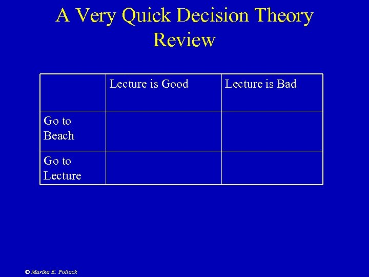 A Very Quick Decision Theory Review Lecture is Good Go to Beach Go to