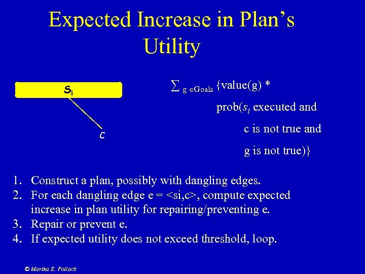 Expected Increase in Plan's Utility ∑ g Goals {value(g) * Si prob(si executed and