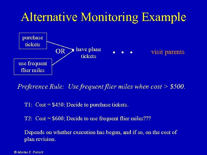 Alternative Monitoring Example purchase tickets OR have plane tickets . . . visit parents