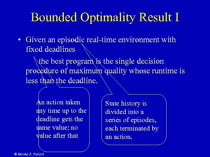 Bounded Optimality Result I • Given an episodic real-time environment with fixed deadlines the