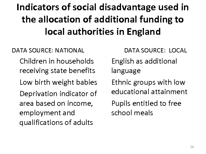 Indicators of social disadvantage used in the allocation of additional funding to local authorities