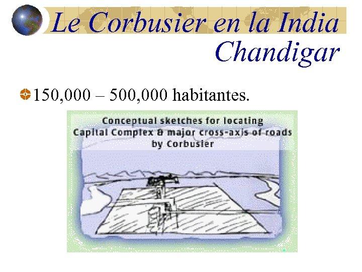 Le Corbusier en la India Chandigar 150, 000 – 500, 000 habitantes.