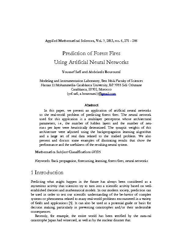 Applied Mathematical Sciences, Vol. 7, 2013, no. 6, 271 - 286 Prediction of Forest