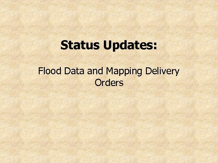Status Updates: Flood Data and Mapping Delivery Orders
