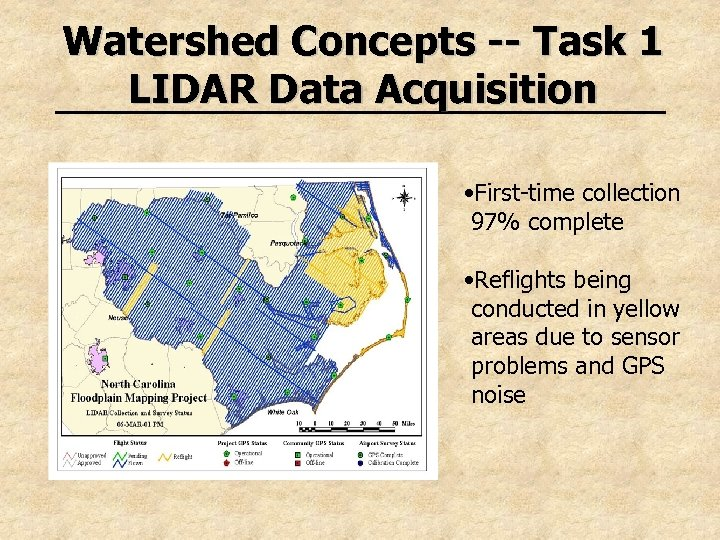 Watershed Concepts -- Task 1 LIDAR Data Acquisition • First-time collection 97% complete •