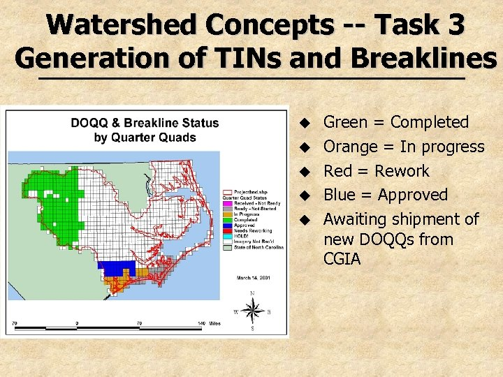 Watershed Concepts -- Task 3 Generation of TINs and Breaklines u u u Green