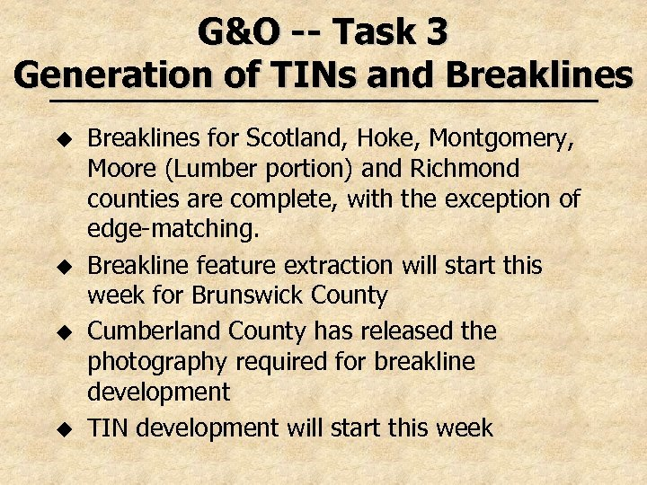 G&O -- Task 3 Generation of TINs and Breaklines u u Breaklines for Scotland,
