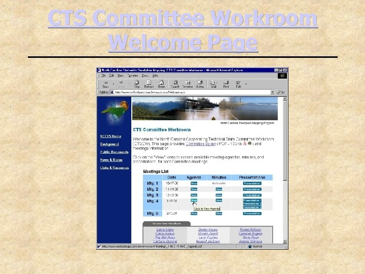 CTS Committee Workroom Welcome Page