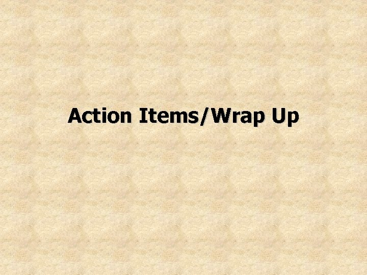 Action Items/Wrap Up