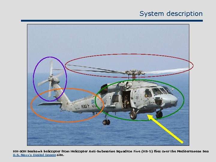 System description HH-60 H Seahawk helicopter from Helicopter Anti-Submarine Squadron Five (HS-5) flies over