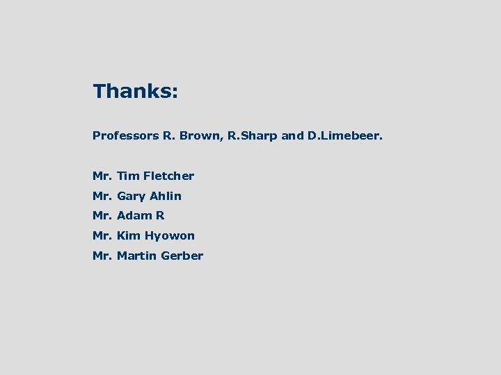 Thanks: Professors R. Brown, R. Sharp and D. Limebeer. Mr. Tim Fletcher Mr. Gary