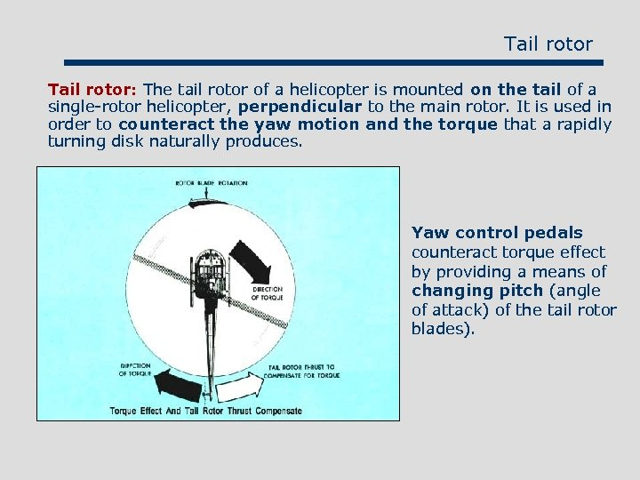 Tail rotor: The tail rotor of a helicopter is mounted on the tail of