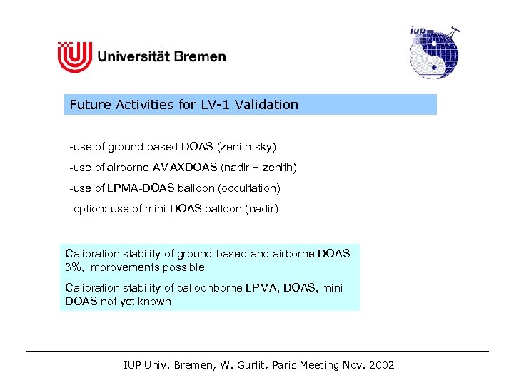 Future Activities for LV-1 Validation -use of ground-based DOAS (zenith-sky) -use of airborne AMAXDOAS