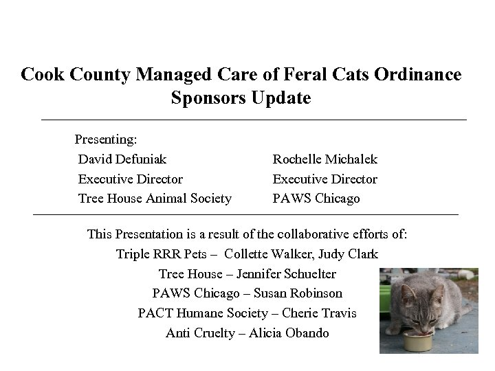 Cook County Managed Care of Feral Cats Ordinance Sponsors Update Presenting: David Defuniak Executive