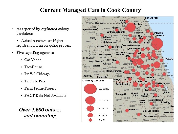 Current Managed Cats in Cook County • As reported by registered colony caretakers •