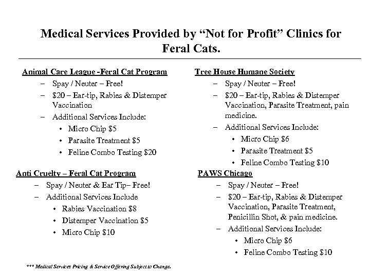 "Medical Services Provided by ""Not for Profit"" Clinics for Feral Cats. Animal Care League"
