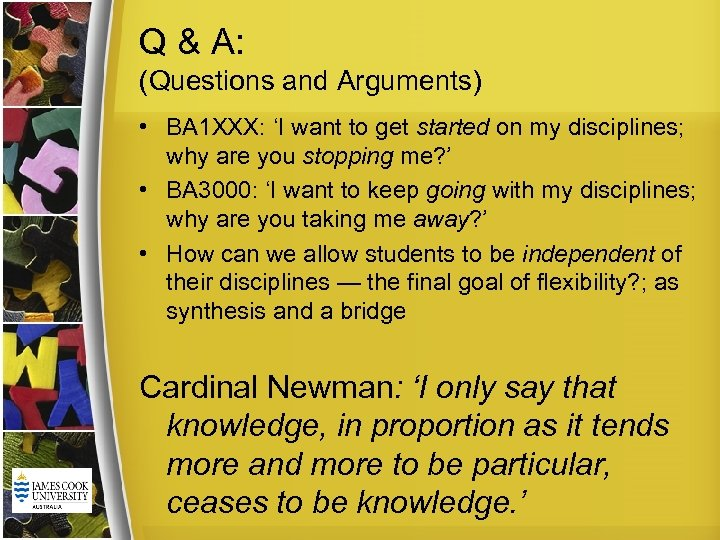 Q & A: (Questions and Arguments) • BA 1 XXX: 'I want to get