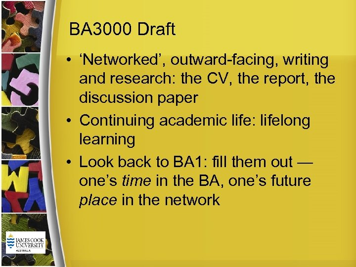 BA 3000 Draft • 'Networked', outward-facing, writing and research: the CV, the report, the