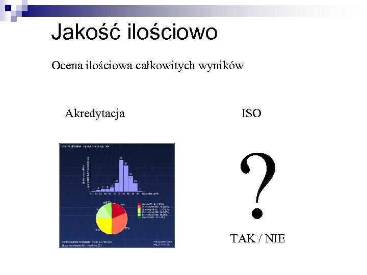 Jakość ilościowo Ocena ilościowa całkowitych wyników Akredytacja ISO ? TAK / NIE