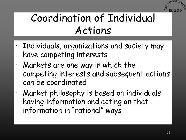 Coordination of Individual Actions · Individuals, organizations and society may have competing interests ·