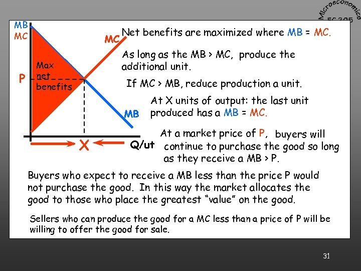 MB MC P MC Net benefits are maximized where MB = MC. As long