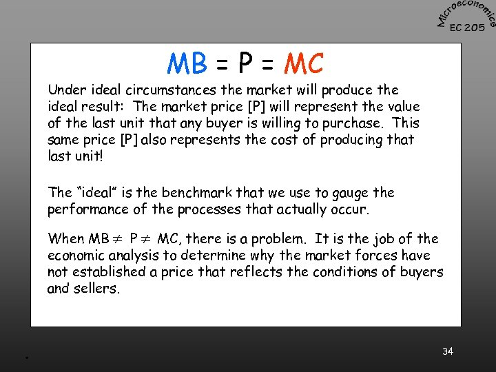 MB = P = MC Under ideal circumstances the market will produce the ideal