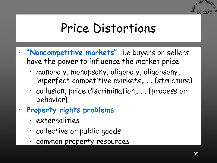 """Price Distortions · """"Noncompetitive markets"""" i. e buyers or sellers have the power to"""