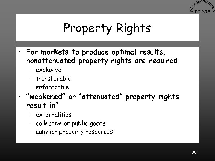 Property Rights · For markets to produce optimal results, nonattenuated property rights are required