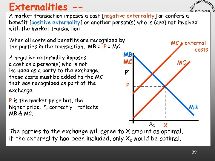 Externalities -- A market transaction imposes a cost [negative externality] or confers a benefit