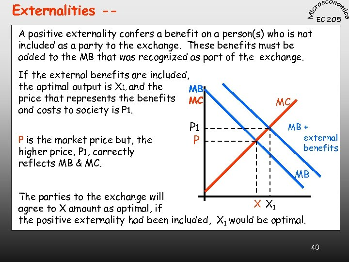 Externalities -A positive externality confers a benefit on a person(s) who is not included