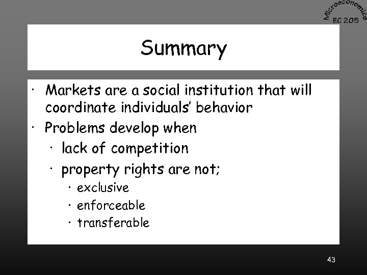 Summary · Markets are a social institution that will coordinate individuals' behavior · Problems