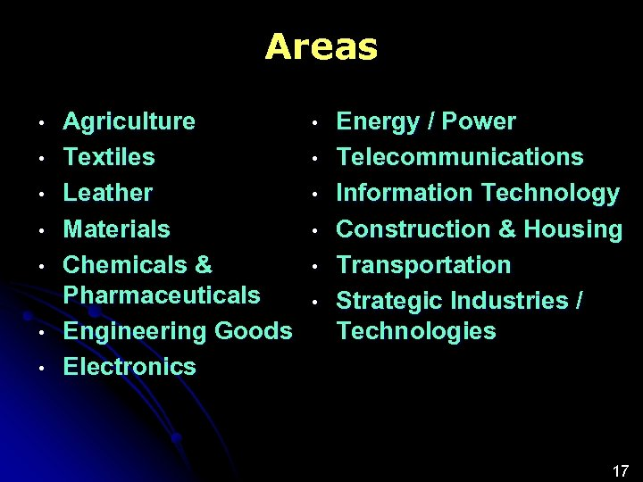 Areas • • Agriculture Textiles Leather Materials Chemicals & Pharmaceuticals Engineering Goods Electronics •