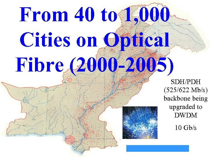 From 40 to 1, 000 Cities on Optical Fibre (2000 -2005) 2002 China Afghanistan