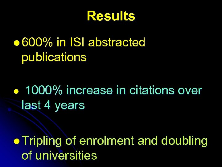 Results l 600% in ISI abstracted publications l 1000% increase in citations over last