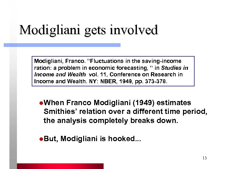 """Modigliani gets involved Modigliani, Franco. """"Fluctuations in the saving-income ration: a problem in economic"""