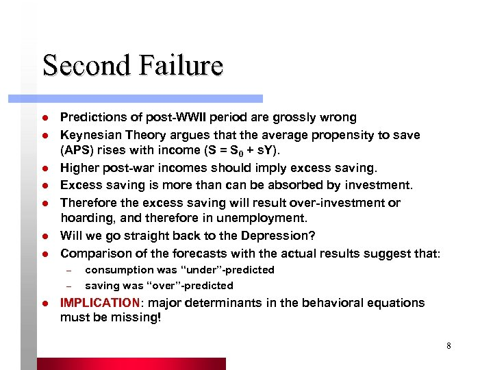 Second Failure l l l l Predictions of post-WWII period are grossly wrong Keynesian